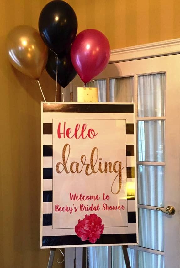 welcome sign for the kate spade themed bridal shower