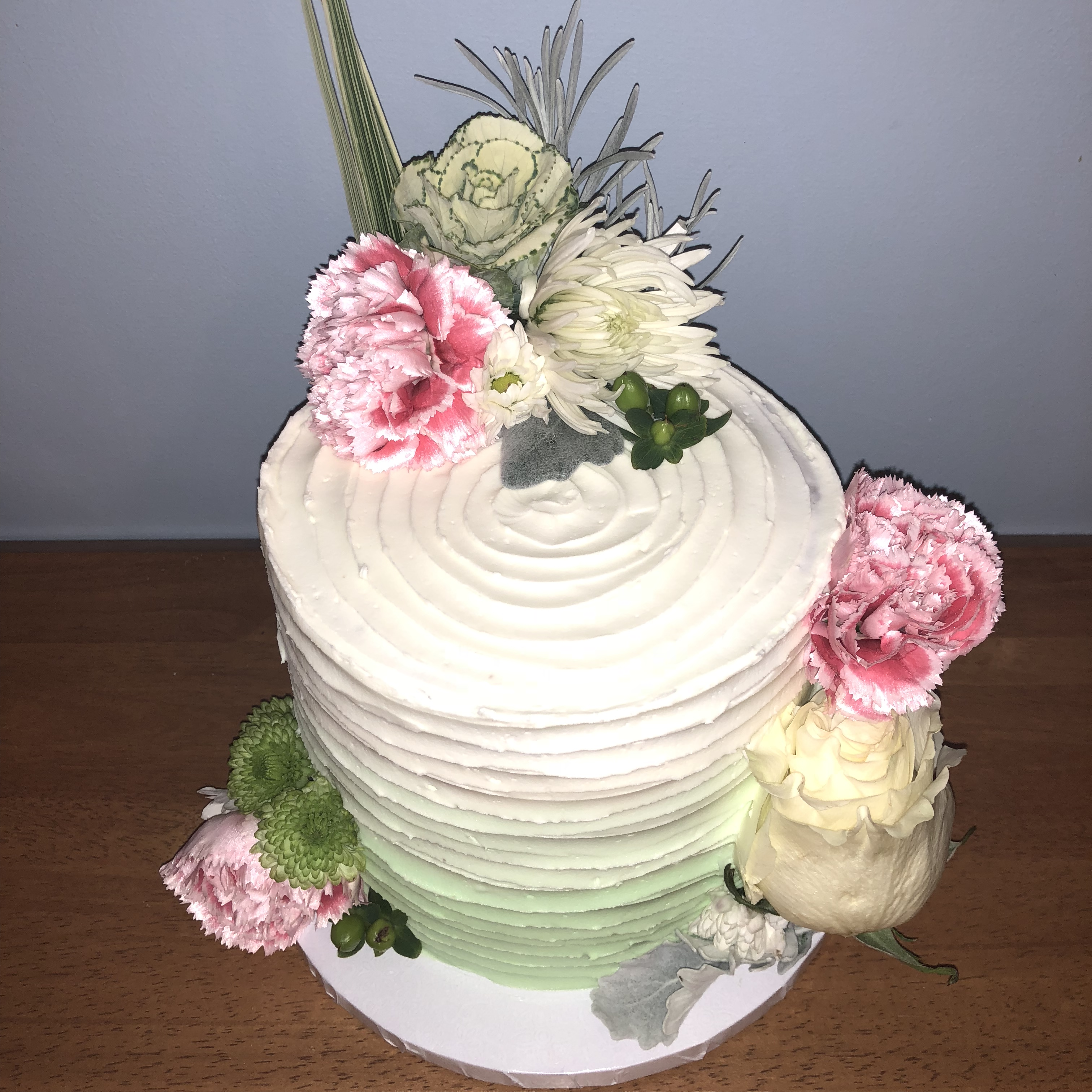 Mint and Pink Floral Cake2